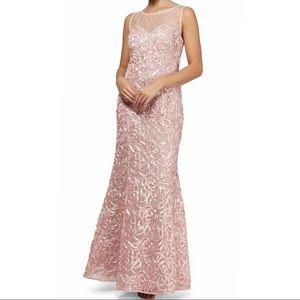 1470 SLNY Pink Mermaid Embellished Gown